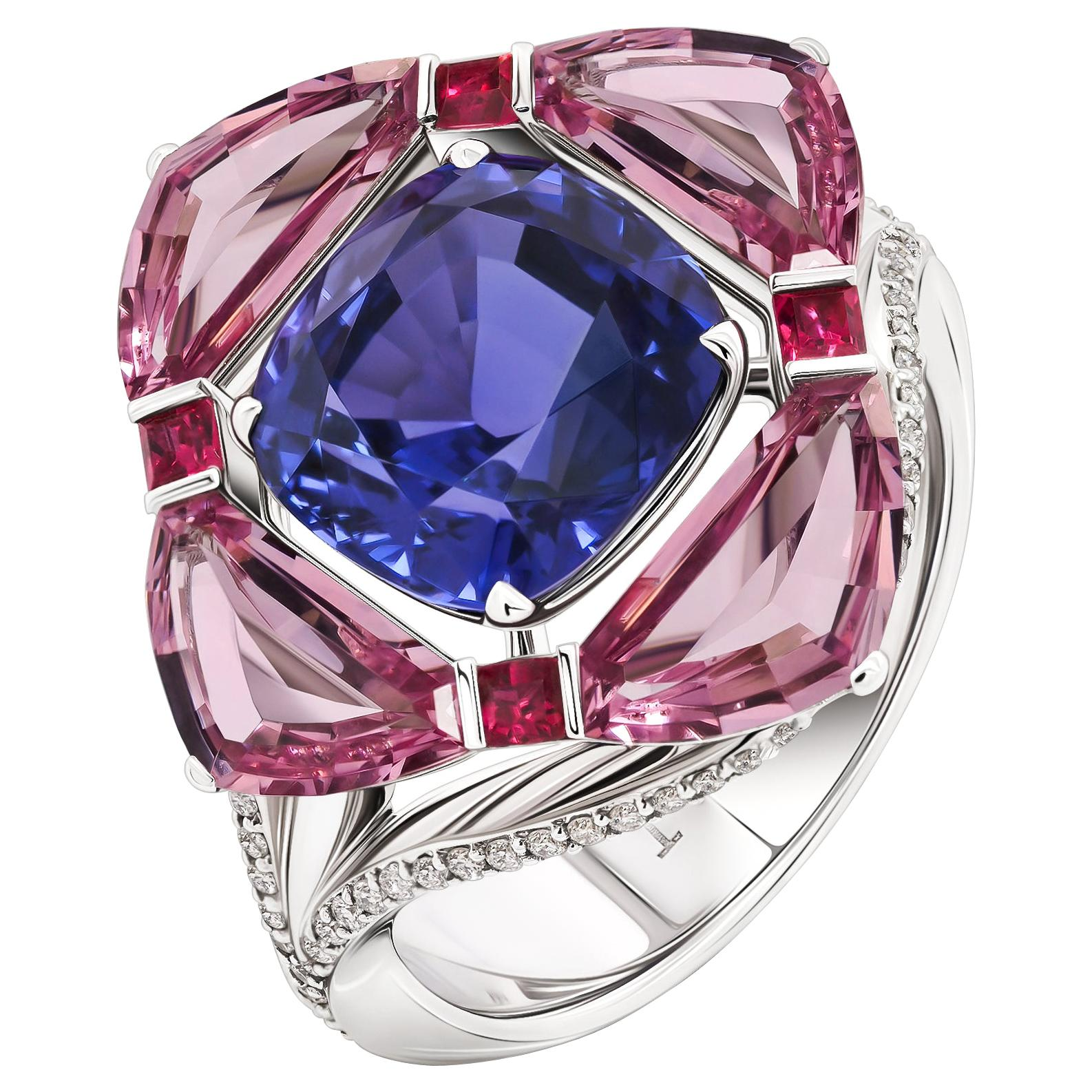 Blue Sapphire Ring, Unheated Blue Sapphire 18k White Gold & Diamonds Ring