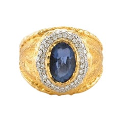 Blue Sapphire Ring with White Diamond Accents set in 24k/18k Gold