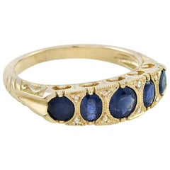 Blue Sapphire Rose Cut Diamond 14 Karat Yellow Gold Band Ring