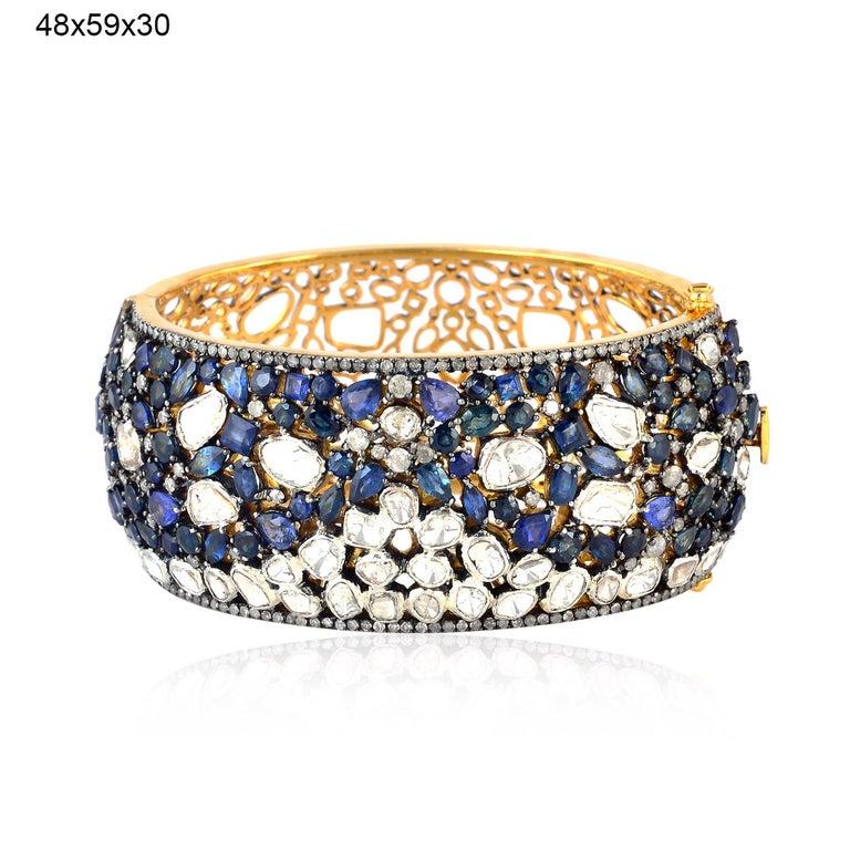 Artisan Blue Sapphire Rose Cut Diamond Bracelet Cuff For Sale