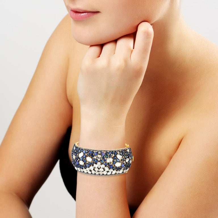 Blue Sapphire Rose Cut Diamond Bracelet Cuff In New Condition For Sale In Hoffman Estate, IL
