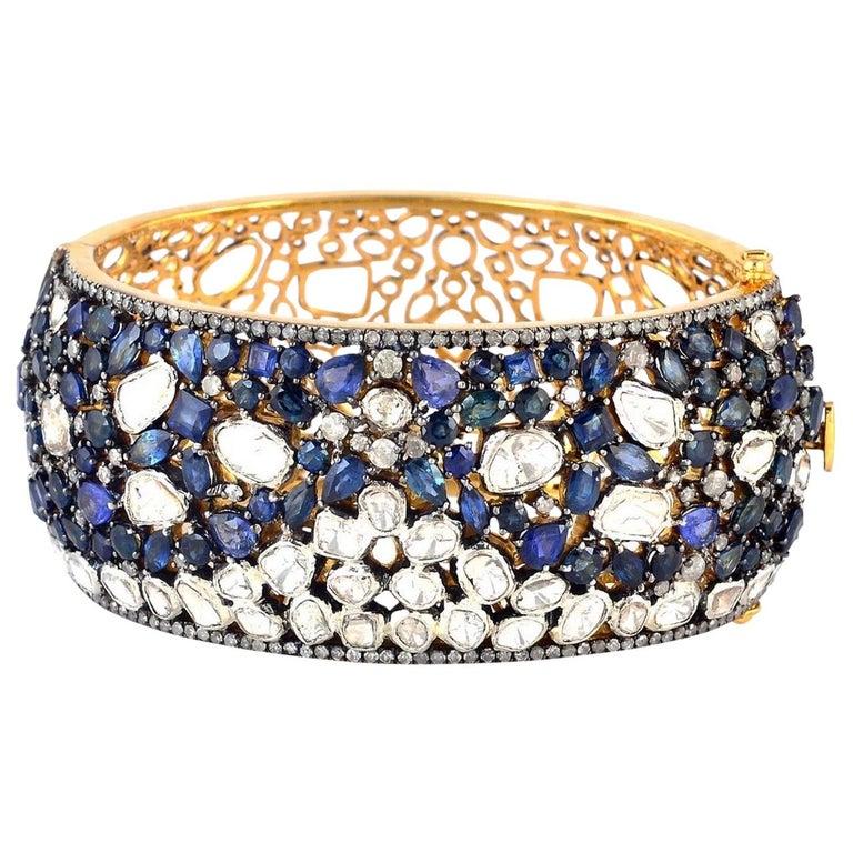 Blue Sapphire Rose Cut Diamond Bracelet Cuff For Sale