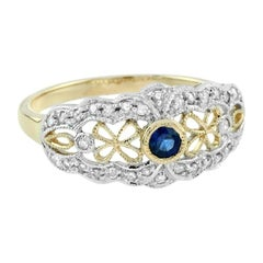 Blue Sapphire Rose Cut Diamond Cocktail Ring