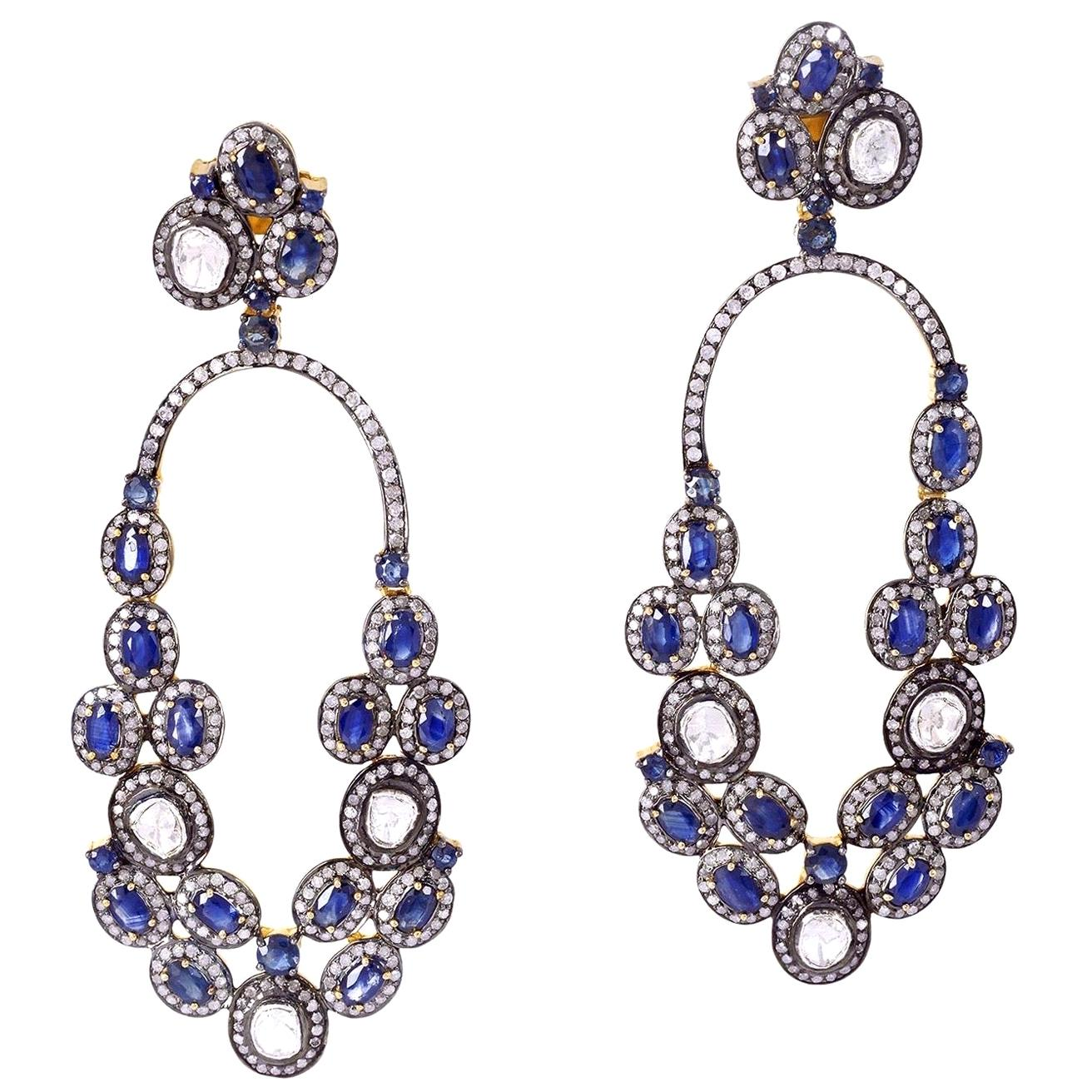 Blue Sapphire Rose Cut Diamond Earrings