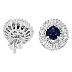 Blue Sapphire Round Diamond Double Halo Gold Ballerina Style Earring