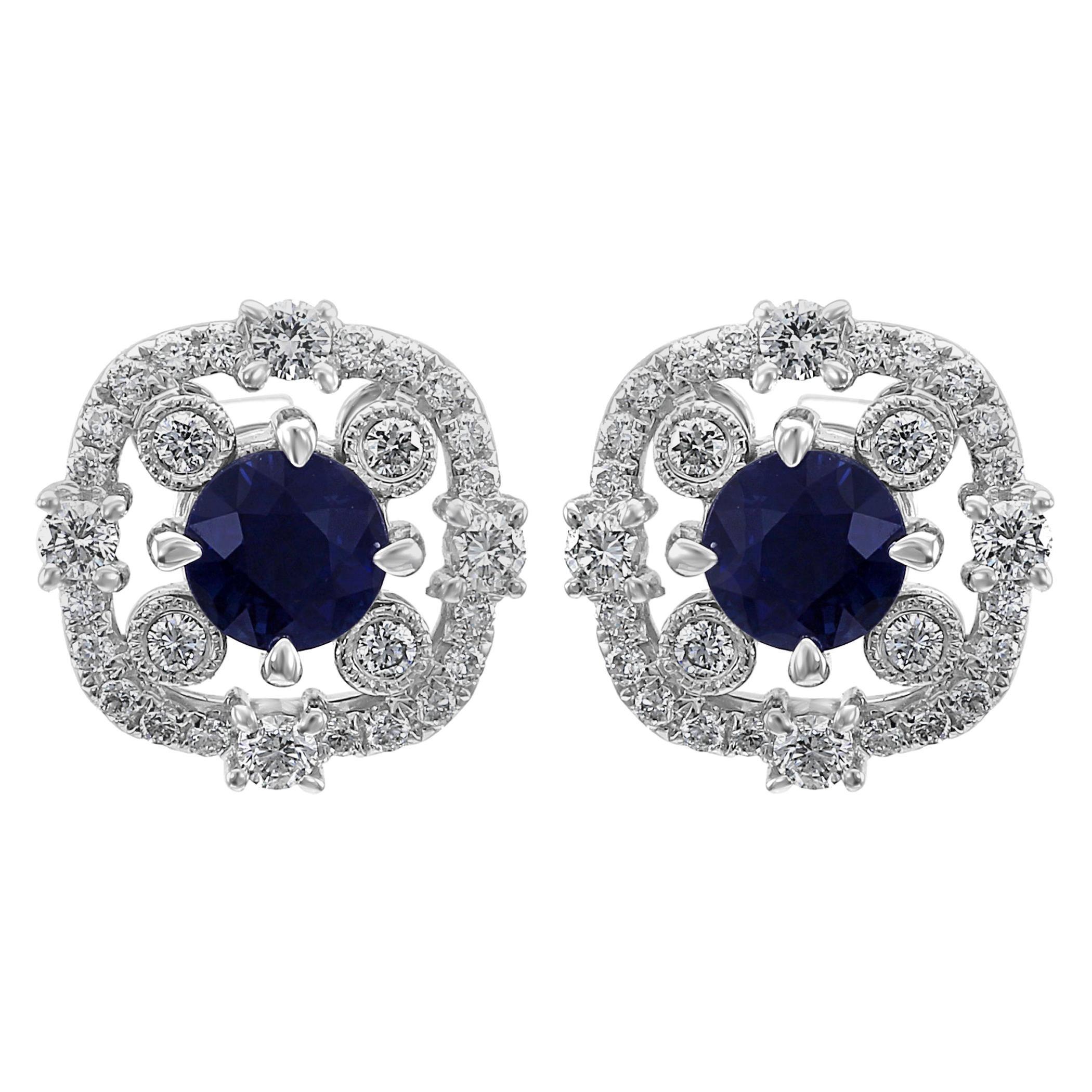 Blue Sapphire Round Diamond Halo 14k White Gold Screw Back Fashion Stud Earrings
