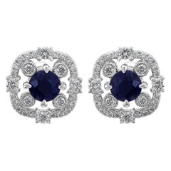 Blue Sapphire Round Diamond Halo 14k White Gold Screw Back Fashion Stud Earrings