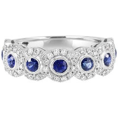 Blue Sapphire Round Diamond Halo 7Stone Fashion Cocktail Filigree Gold Band Ring
