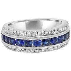 Blue Sapphire Round Diamond Three-Row White Gold Fashion Cocktail Band Ring