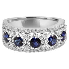 Blue Sapphire Round White Diamond 5-Stone Fashion Cocktail Gold Band Ring