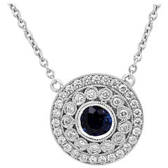 Blue Sapphire Round White Diamond Double Halo Gold Pendant Necklace