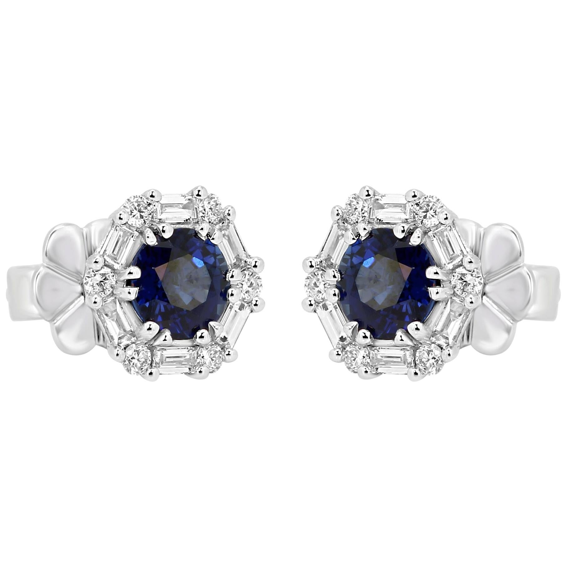 Blue Sapphire Round White Diamond Halo 14 Karat White Gold Fashion Stud Earring
