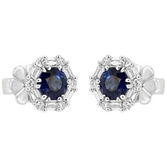Blue Sapphire Round White Diamond Halo 14 Karat White Gold Fashion Stud Earring