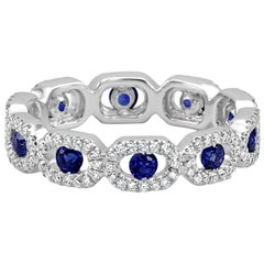 Blue Sapphire Round White Diamond Halo Eternity Cocktail Fashion Band Gold Ring