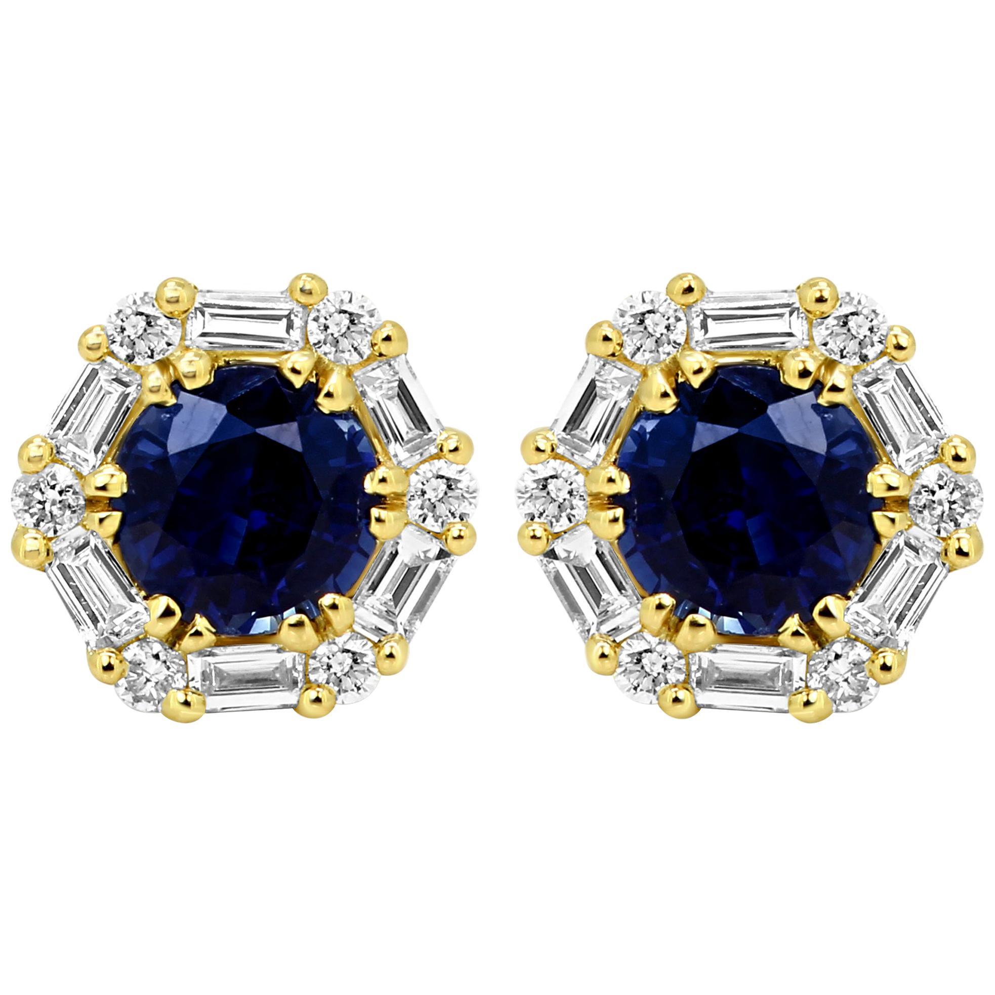 Blue Sapphire Round White Diamond Halo 14k Yellow Gold Fashion Stud Earring