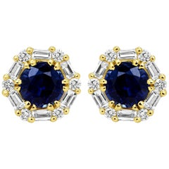 Blue Sapphire Round White Diamond Halo 14k Yellow Gold Fashion Stud Earring