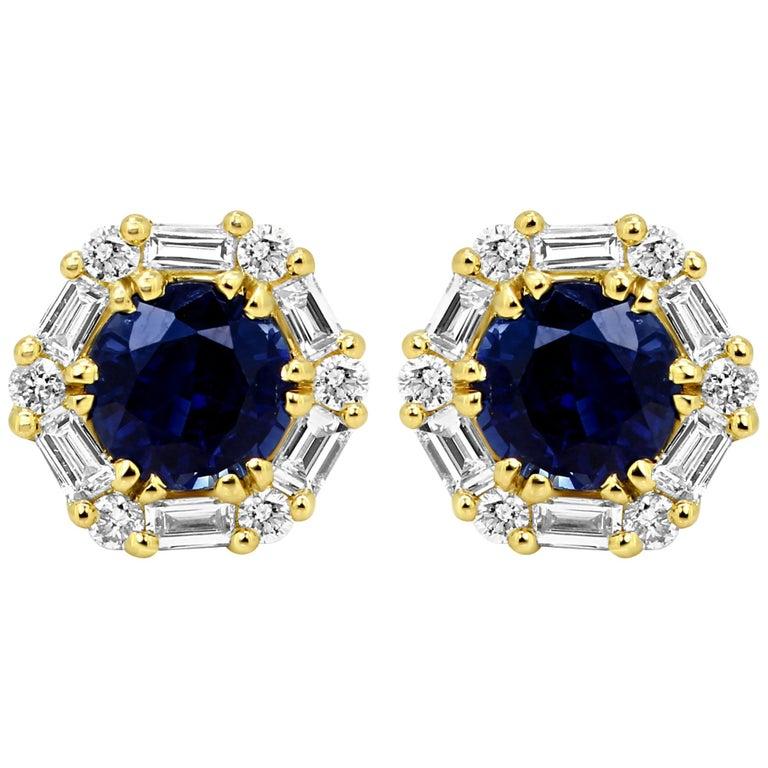 8e68e858f Blue Sapphire Round White Diamond Halo Gold Stud Earring For Sale at ...