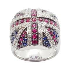 Blue Sapphire, Ruby and Diamond British Flag Ring in 18 Karat White Gold