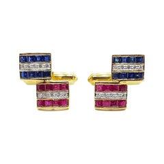 Blue Sapphire, Ruby and Diamond Cufflinks Set in 18 Karat Gold Settings