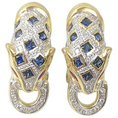 Blue Sapphire, Ruby and Diamond Panther Earrings Set in 18 Karat Gold Settings