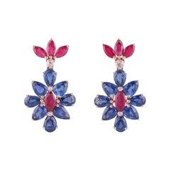 Blue Sapphire, Ruby & Diamond Earrings Studded in 18k Rose Gold