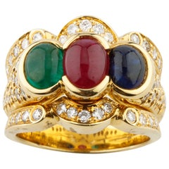 Blue Sapphire, Ruby, Emerald and Diamond 18 Karat Yellow Gold Cocktail Ring