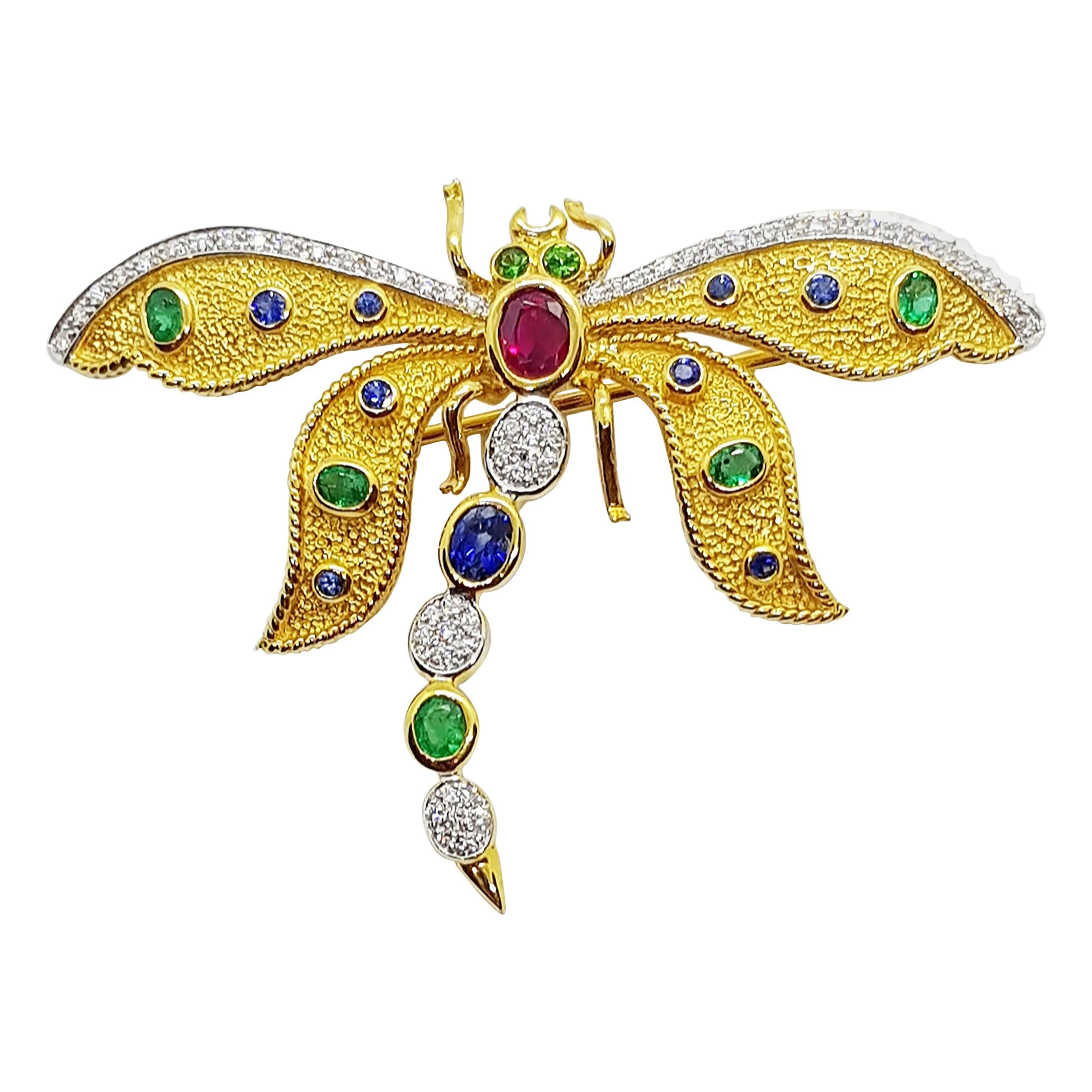 Blue Sapphire, Ruby, Emerald Dragonfly Brooch/Pendant Set in 18 Karat Gold