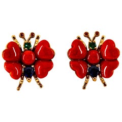 Blue Sapphire Ruby Emerald Mediterranean Red Coral Yellow Gold Stud Earrings