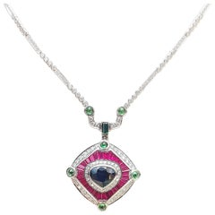 Blue Sapphire, Ruby, Tsavorite and Diamond Necklace Set in 18 Karat White Gold