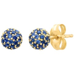 Blue Sapphire September Birth Stone Disco Ball Earrings, Gold, Ben Dannie