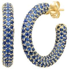 Blue Sapphire September Birthstone Gemstone Pave Hoop Earrings, Gold, Ben Dannie