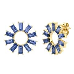 Blue Sapphire September Birthstone Wheel Stud Earrings, Gold, Ben Dannie