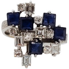 Blue Sapphire Square and White Diamond Round Fashion Ring in Platinum