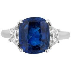 Blue Sapphire Sri Lanka Ceylon Three-Stone Engagement Ring Andreoli Certified