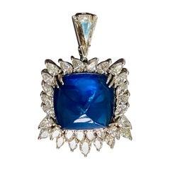 Blue Sapphire Sugar Loaf and Diamond Pendant