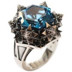 Blue Sapphire Silver Thoscene Ring