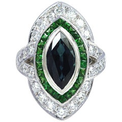 Blue Sapphire, Tsavorite, Diamond 1.24 Carat Ring in 18 Karat Gold Settings