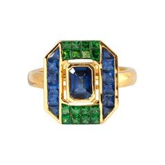 Blue Sapphire & Tsavorite Garnet Ring 18k Gold by Kavant & Sharart