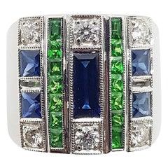 Blue Sapphire, Tsavorite with Diamond Ring Set in 18 Karat White Gold Settings