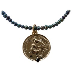 Sapphire Black Pearl Virgin Mother Mary Medal Chain Necklace J Dauphin