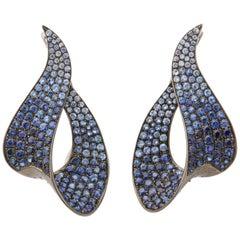 Blue Sapphire Wave Earclips