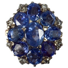 Blue Sapphire White Diamond 18 Karat Gold Cluster Ring