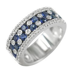 Blue Sapphire White Diamond Classic Combination Band White Gold Ring