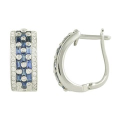 Blue Sapphire White Diamond Classic Combination White Gold Lever-Back Earrings