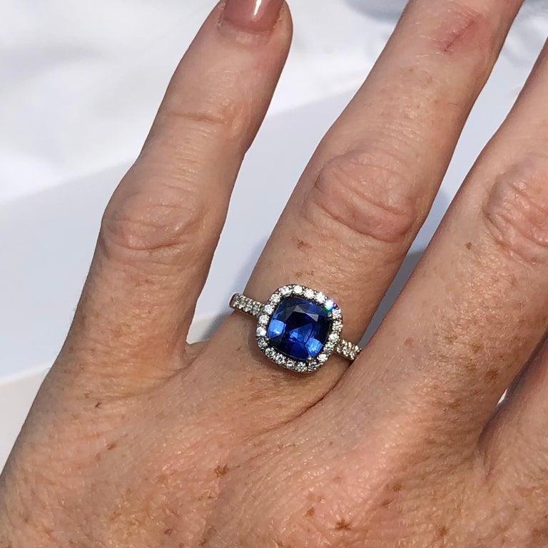 Platinum Engagement Rings Sale Uk: Blue Sapphire White Diamond Platinum Engagement Round