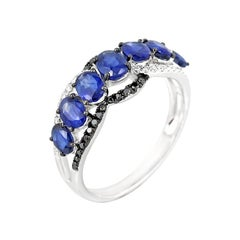 Blue Sapphire White Diamond White Gold Statement Ring