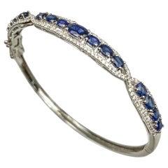 Blue Sapphire White Gold Bangle/Bracelet