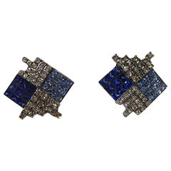 Blue Sapphire with Brown Diamond Earrings Set in 18 Karat White Gold Settings