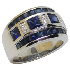 Blue Sapphire with Carat Ring Set in 18 Karat White Gold Settings