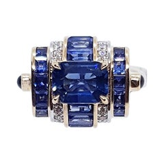 Blue Sapphire with Diamond and Cabochon Blue Sapphire Ring in 18 Karat Rose Gold